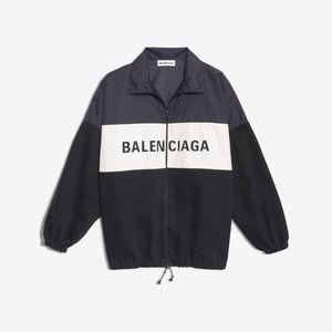 Oversized Balenciaga Nylon Logo Denim Jacket